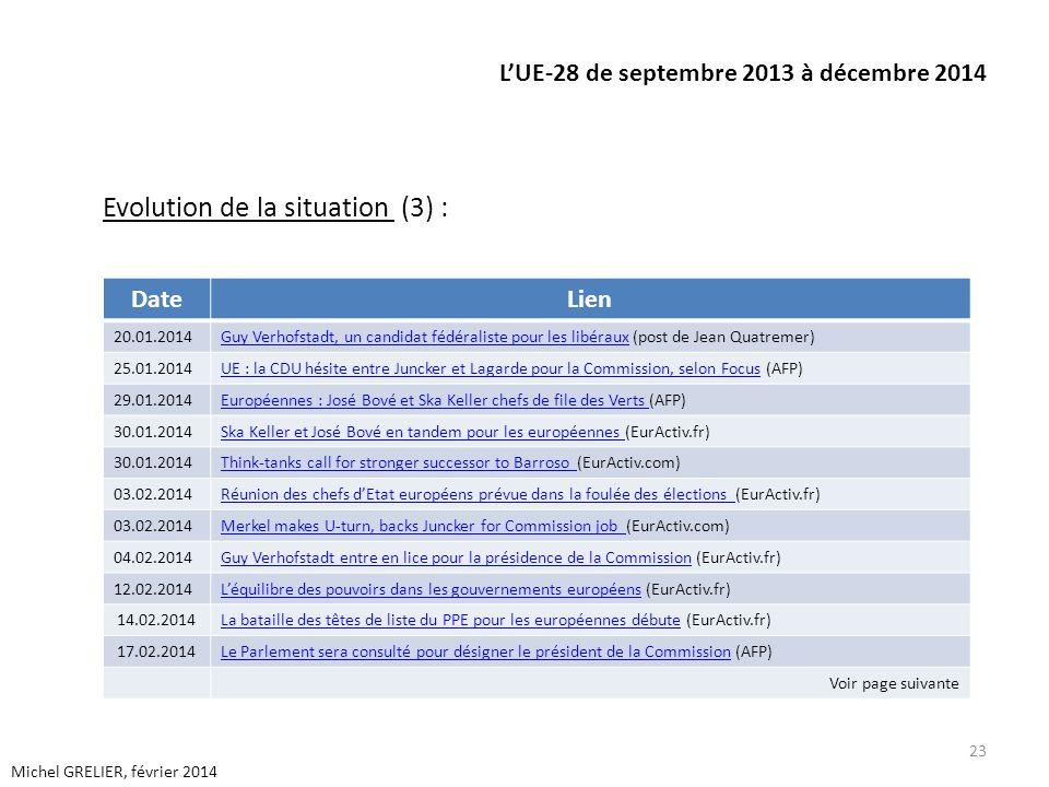 LUE-28 de septembre 2013 à décembre 2014 Evolution de la situation (3) : 23 Michel GRELIER, février 2014 DateLien 20.01.2014Guy Verhofstadt, un candid