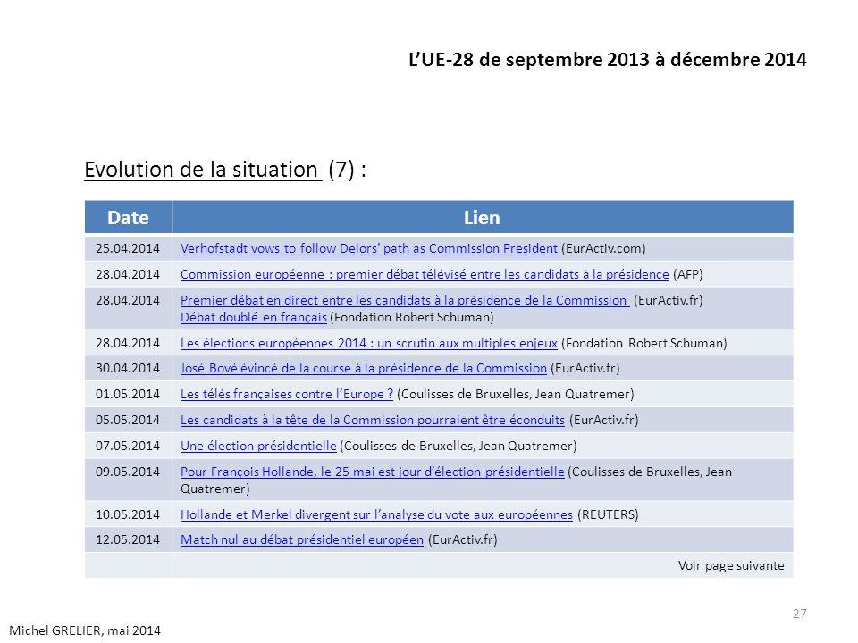 LUE-28 de septembre 2013 à décembre 2014 Evolution de la situation (7) : 27 Michel GRELIER, mai 2014 DateLien 25.04.2014Verhofstadt vows to follow Del