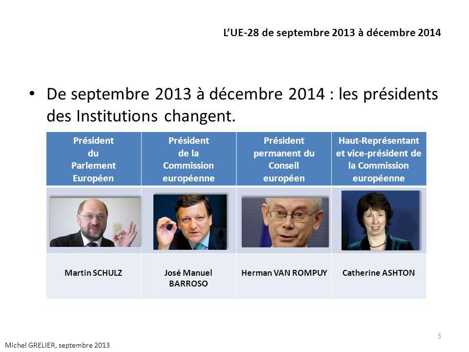 LUE-28 de septembre 2013 à décembre 2014 De septembre 2013 à décembre 2014 : les présidents des Institutions changent. 3 Michel GRELIER, septembre 201
