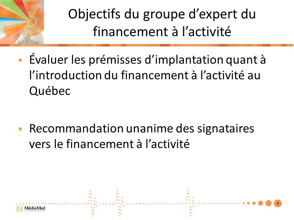 Objectifs du groupe dexpert du financement à lactivité Évaluer les prémisses dimplantation quant à lintroduction du financement à lactivité au Québec Recommandation unanime des signataires vers le financement à lactivité 4