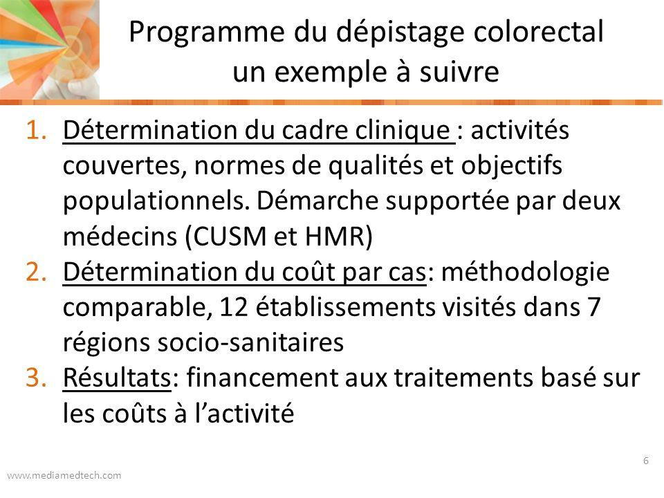 Programme du dépistage colorectal un exemple à suivre www.mediamedtech.com 6 1.Détermination du cadre clinique : activités couvertes, normes de qualités et objectifs populationnels.