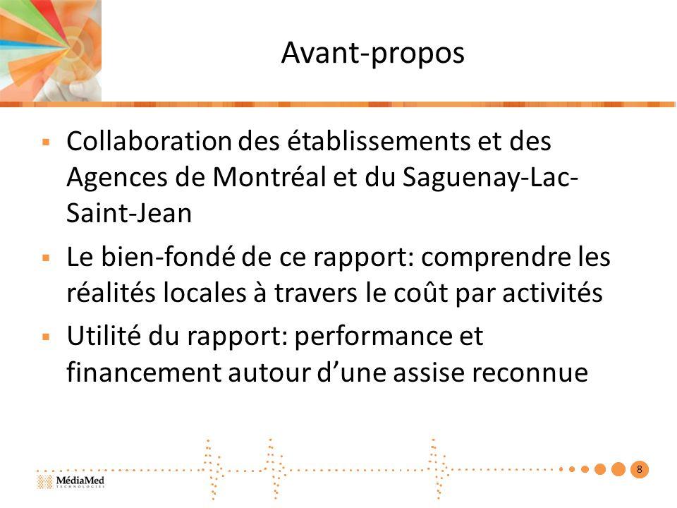 Avant-propos Collaboration des établissements et des Agences de Montréal et du Saguenay-Lac- Saint-Jean Le bien-fondé de ce rapport: comprendre les réalités locales à travers le coût par activités Utilité du rapport: performance et financement autour dune assise reconnue 8