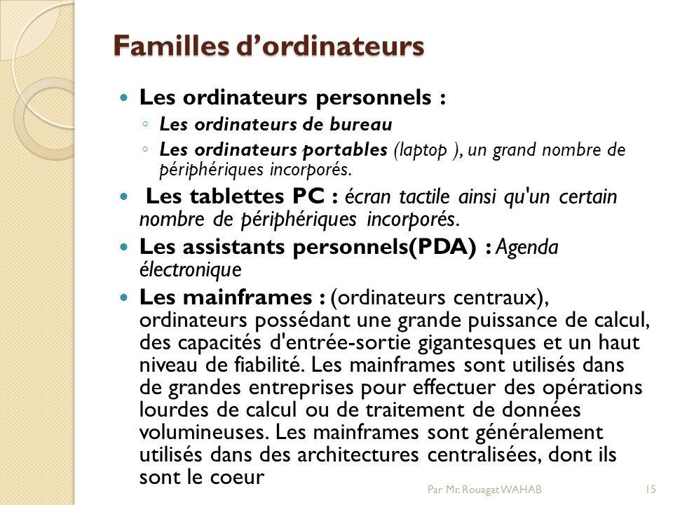 Familles dordinateurs Les ordinateurs personnels : Les ordinateurs de bureau Les ordinateurs portables (laptop ), un grand nombre de périphériques incorporés.