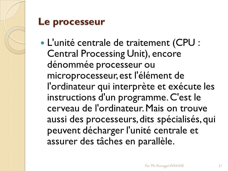 Le processeur L unité centrale de traitement (CPU : Central Processing Unit), encore dénommée processeur ou microprocesseur, est l élément de l ordinateur qui interprète et exécute les instructions d un programme.