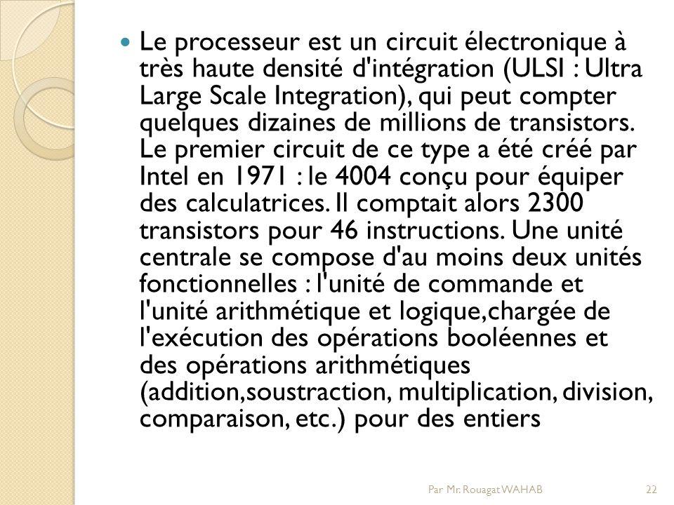 Le processeur est un circuit électronique à très haute densité d intégration (ULSI : Ultra Large Scale Integration), qui peut compter quelques dizaines de millions de transistors.
