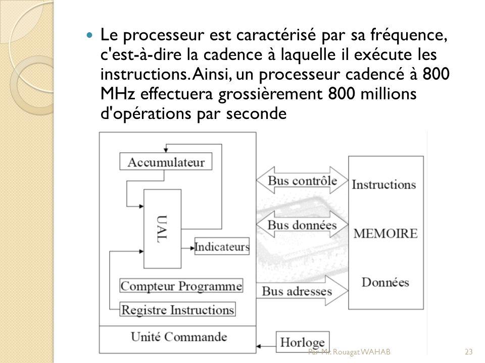 Le processeur est caractérisé par sa fréquence, c est-à-dire la cadence à laquelle il exécute les instructions.