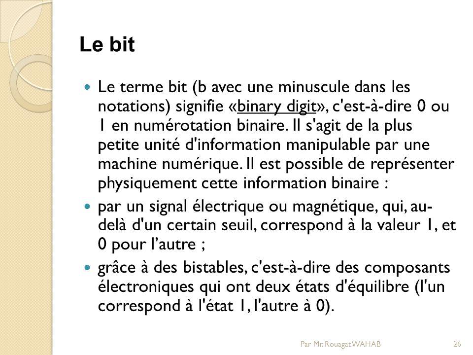 Le bit Le terme bit (b avec une minuscule dans les notations) signifie «binary digit», c est-à-dire 0 ou 1 en numérotation binaire.