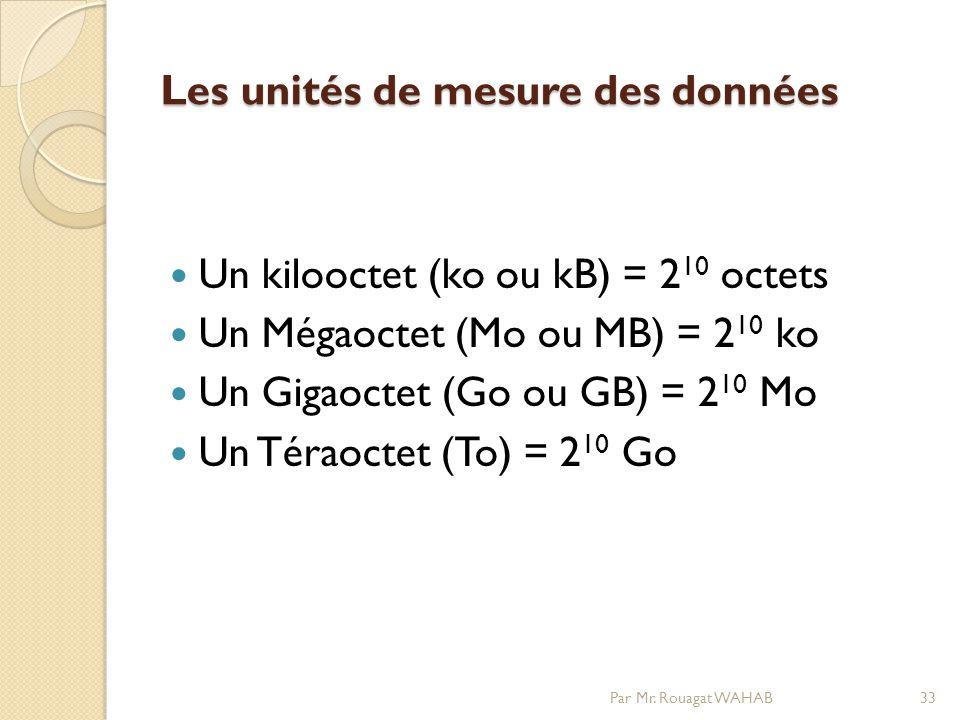 Les unités de mesure des données Un kilooctet (ko ou kB) = 2 10 octets Un Mégaoctet (Mo ou MB) = 2 10 ko Un Gigaoctet (Go ou GB) = 2 10 Mo Un Téraoctet (To) = 2 10 Go Par Mr.