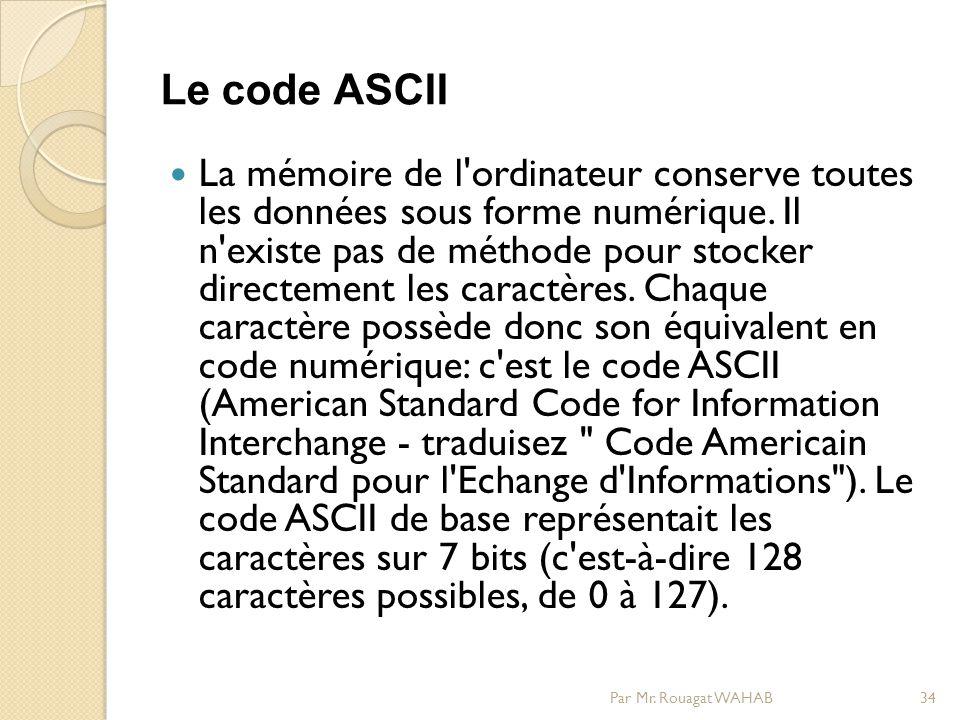 Le code ASCII La mémoire de l ordinateur conserve toutes les données sous forme numérique.