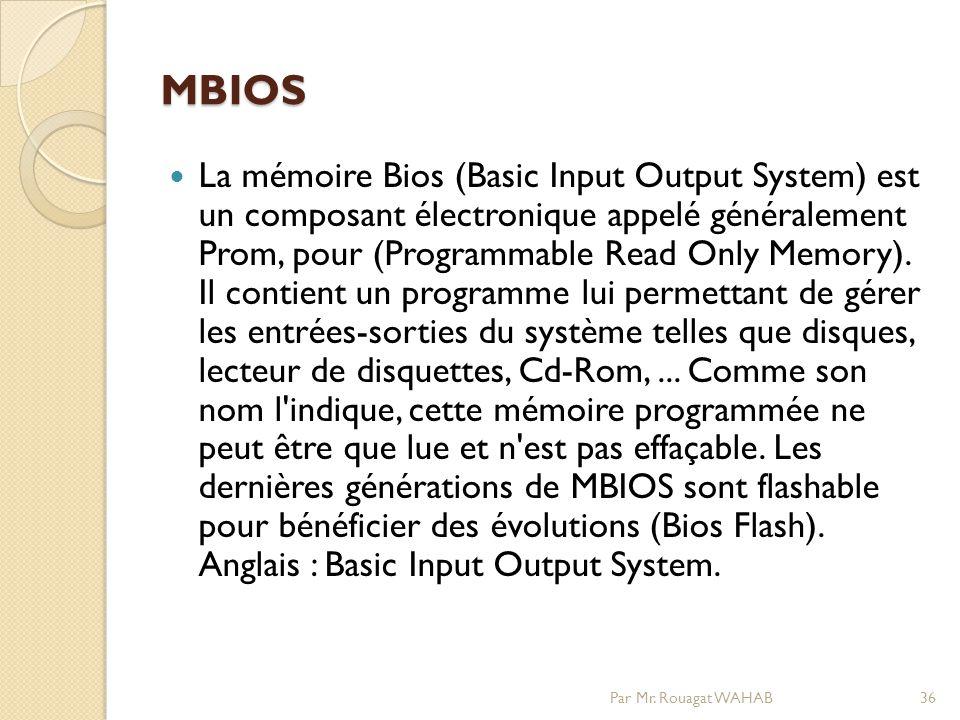 MBIOS La mémoire Bios (Basic Input Output System) est un composant électronique appelé généralement Prom, pour (Programmable Read Only Memory).