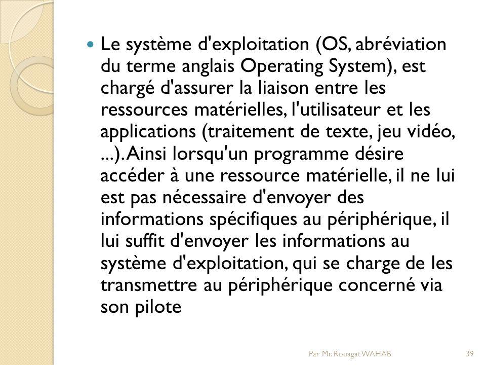 Le système d exploitation (OS, abréviation du terme anglais Operating System), est chargé d assurer la liaison entre les ressources matérielles, l utilisateur et les applications (traitement de texte, jeu vidéo,...).