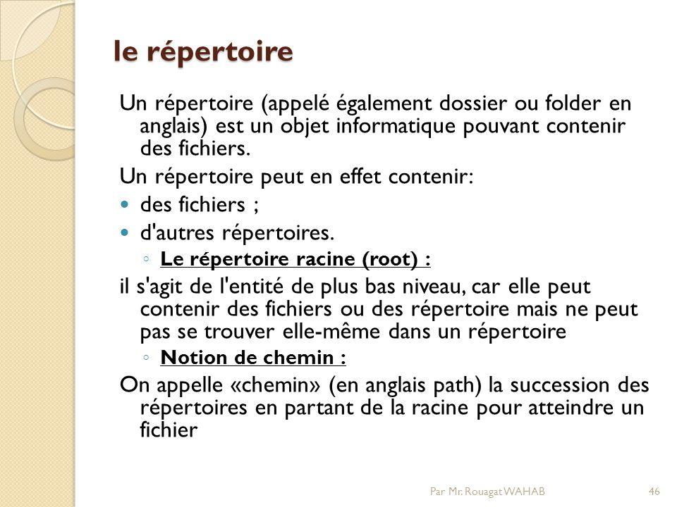 le répertoire le répertoire Un répertoire (appelé également dossier ou folder en anglais) est un objet informatique pouvant contenir des fichiers.