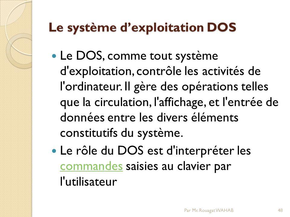 Le système dexploitation DOS Le DOS, comme tout système d exploitation, contrôle les activités de l ordinateur.