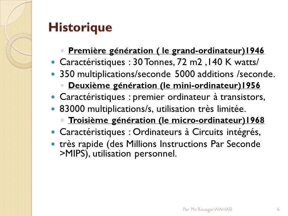 Historique Première génération ( le grand-ordinateur)1946 Caractéristiques : 30 Tonnes, 72 m2,140 K watts/ 350 multiplications/seconde 5000 additions /seconde.