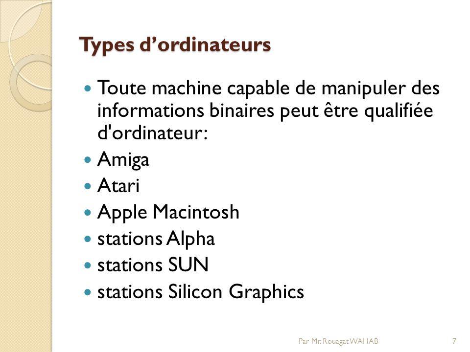 Types dordinateurs Types dordinateurs Toute machine capable de manipuler des informations binaires peut être qualifiée d ordinateur: Amiga Atari Apple Macintosh stations Alpha stations SUN stations Silicon Graphics 7Par Mr.