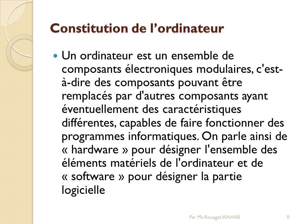 Constitution de lordinateur Un ordinateur est un ensemble de composants électroniques modulaires, c est- à-dire des composants pouvant être remplacés par d autres composants ayant éventuellement des caractéristiques différentes, capables de faire fonctionner des programmes informatiques.