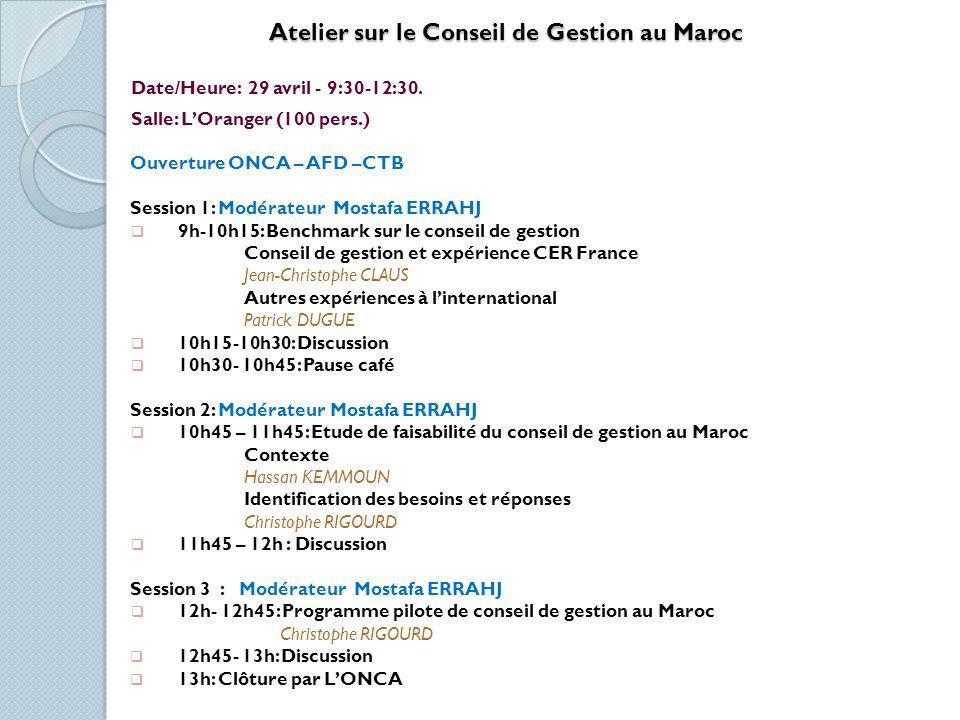 Les Produits Bio: Un Levier de Développement Territorial Date/Heure: 30 avril - 9:30-12:30 Salle: Salle Oasis (300 pers.) Présidents: M.