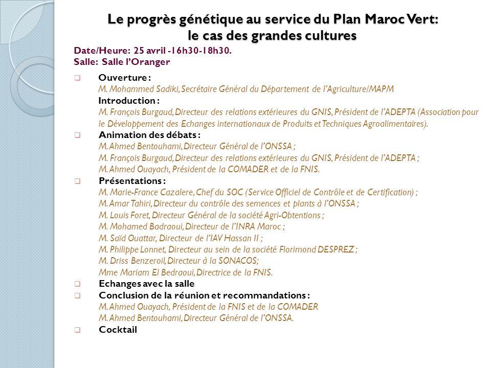 Date/Heure: 25 avril - 14:30-18:00 Salle: Salle les Palmiers (200 pers.) Film AFD sur la petite agriculture au Maroc.
