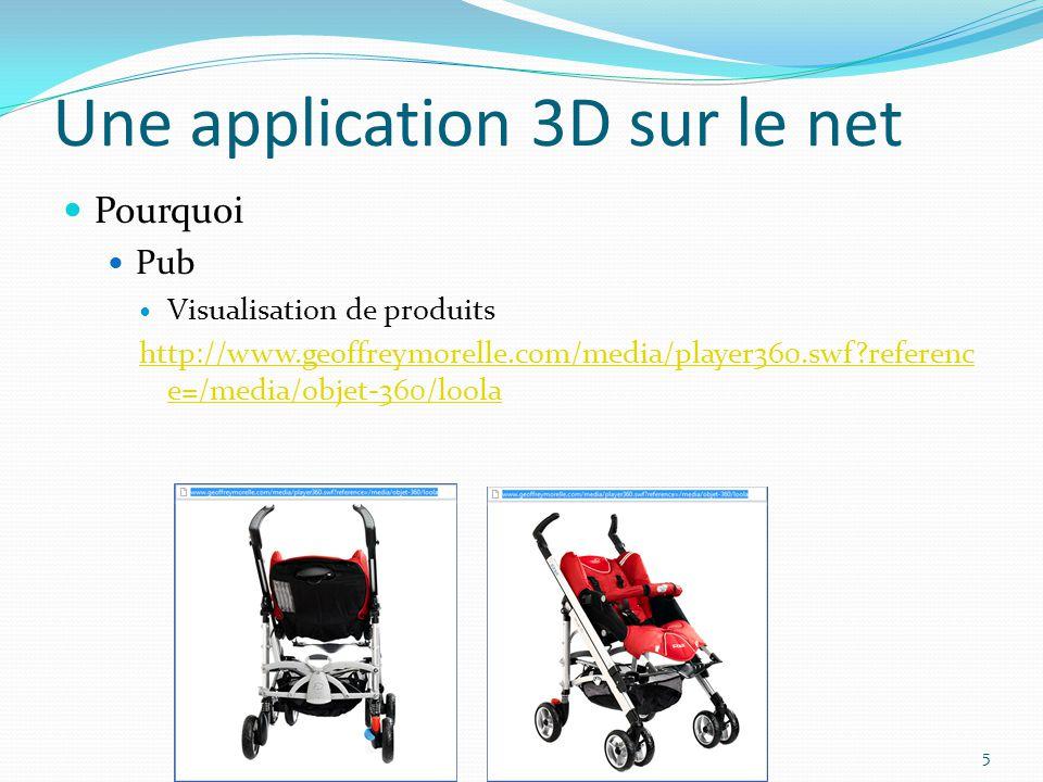 Une application 3D sur le net Pourquoi Pub Visualisation de produits http://www.geoffreymorelle.com/media/player360.swf?referenc e=/media/objet-360/lo