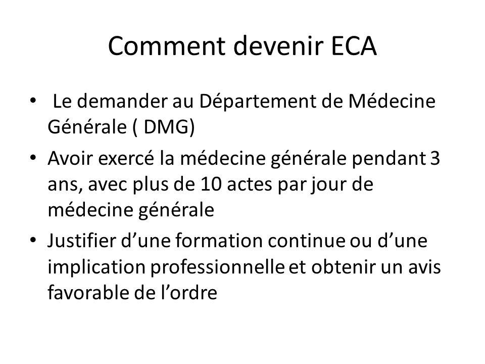 Comment devenir ECA Le demander au Département de Médecine Générale ( DMG) Avoir exercé la médecine générale pendant 3 ans, avec plus de 10 actes par jour de médecine générale Justifier dune formation continue ou dune implication professionnelle et obtenir un avis favorable de lordre