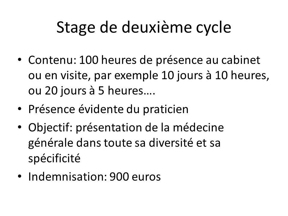 Stage de deuxième cycle Contenu: 100 heures de présence au cabinet ou en visite, par exemple 10 jours à 10 heures, ou 20 jours à 5 heures…. Présence é