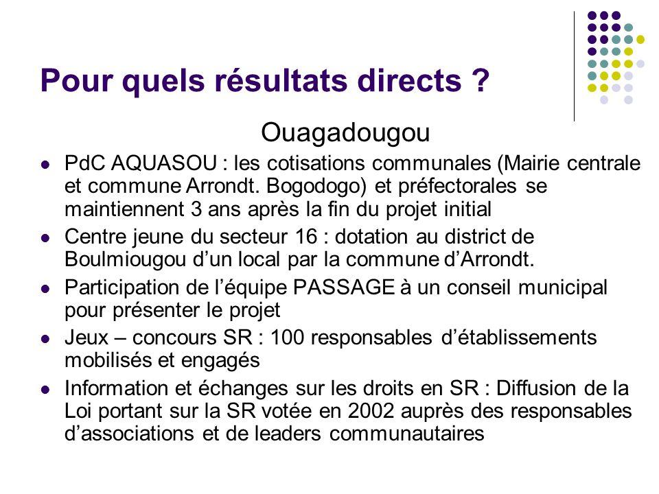 Pour quels résultats directs ? Ouagadougou PdC AQUASOU : les cotisations communales (Mairie centrale et commune Arrondt. Bogodogo) et préfectorales se