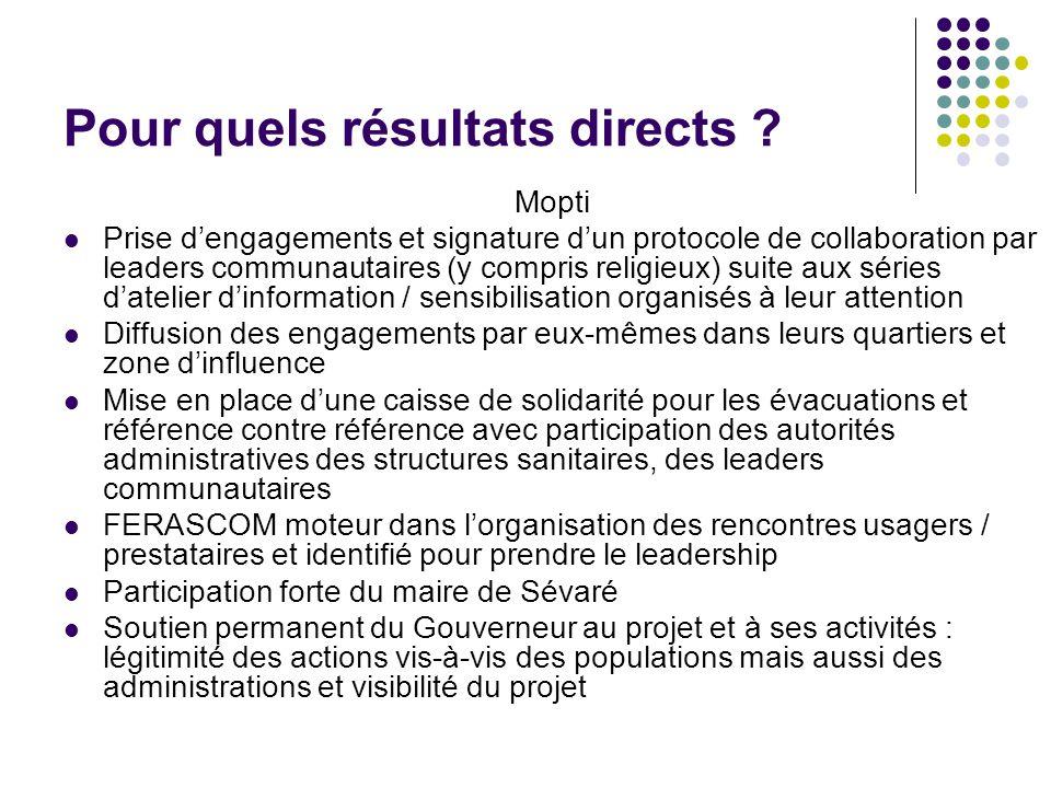 Pour quels résultats directs ? Mopti Prise dengagements et signature dun protocole de collaboration par leaders communautaires (y compris religieux) s