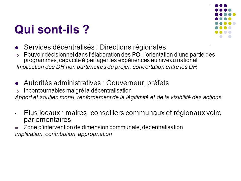 Qui sont-ils ? Services décentralisés : Directions régionales Pouvoir décisionnel dans lélaboration des PO, lorientation dune partie des programmes, c