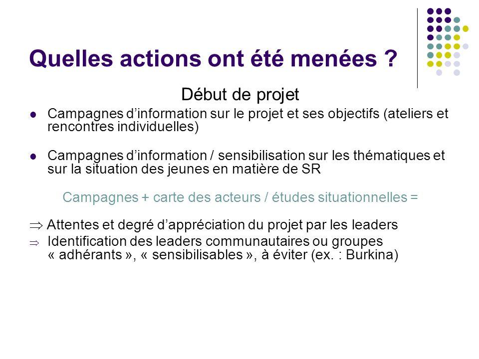 Quelles actions ont été menées ? Début de projet Campagnes dinformation sur le projet et ses objectifs (ateliers et rencontres individuelles) Campagne