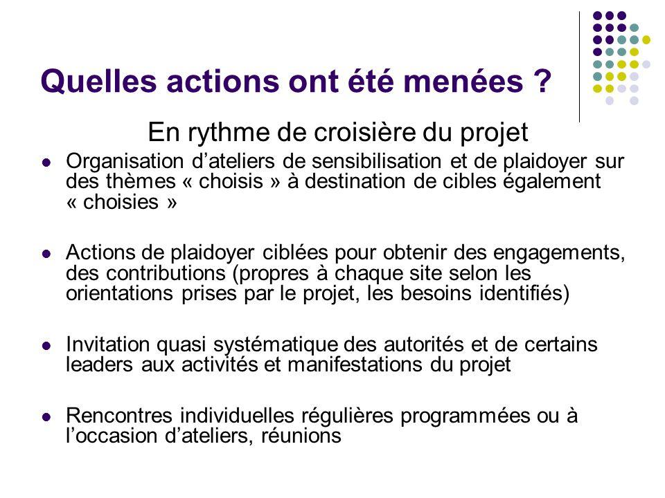 Quelles actions ont été menées ? En rythme de croisière du projet Organisation dateliers de sensibilisation et de plaidoyer sur des thèmes « choisis »