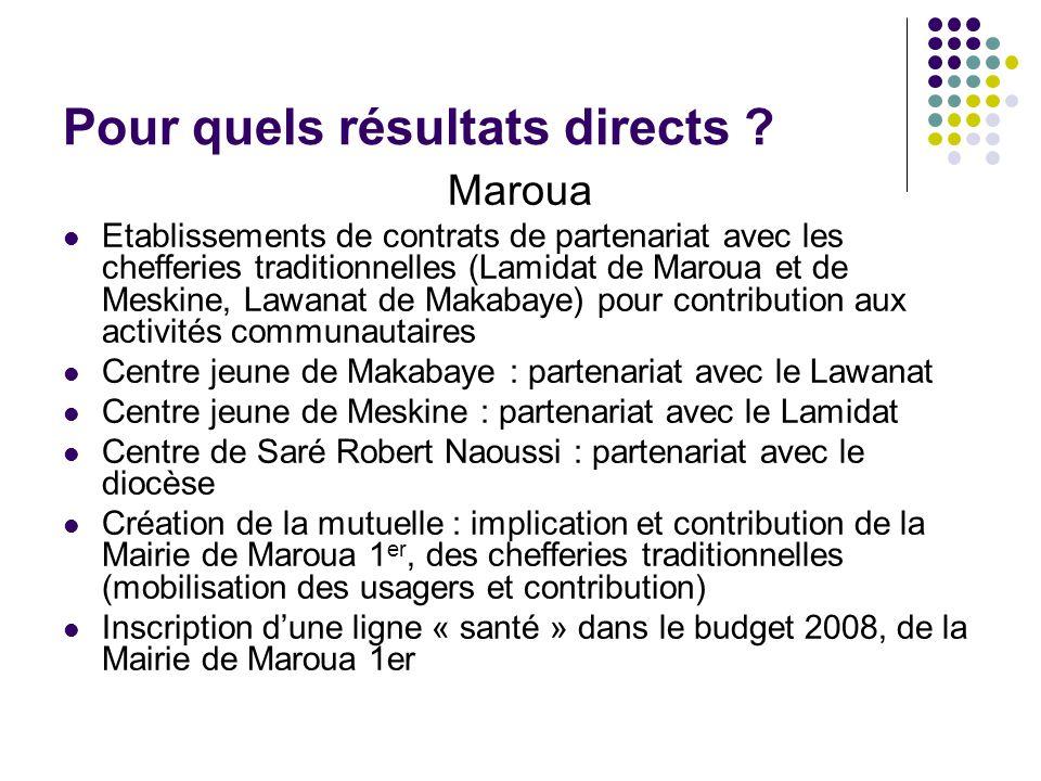 Pour quels résultats directs ? Maroua Etablissements de contrats de partenariat avec les chefferies traditionnelles (Lamidat de Maroua et de Meskine,