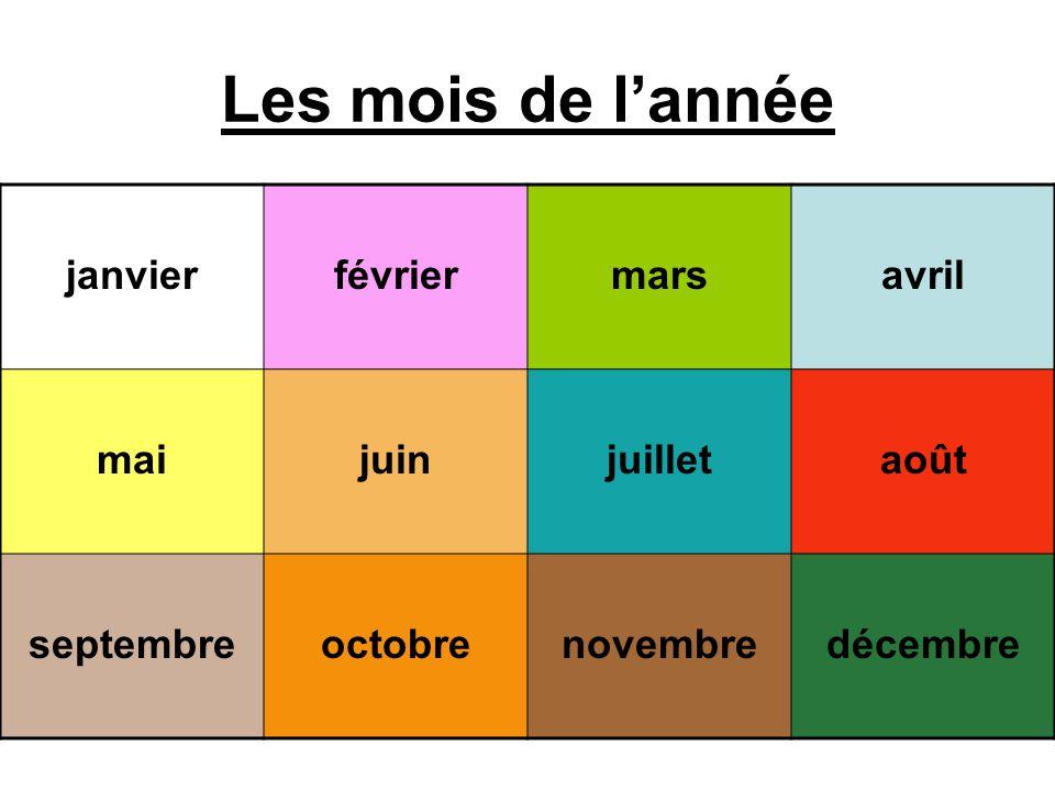 Les mois de lannée janvierfévriermarsavril maijuinjuilletaoût septembreoctobrenovembredécembre