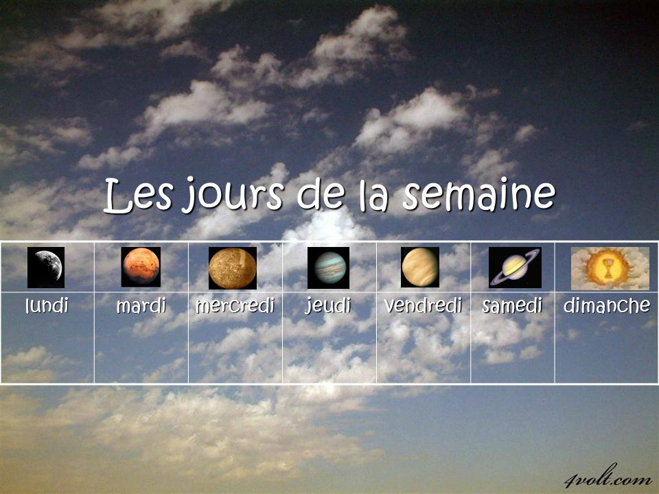 Aujourdhui, cest… Lundi (moon-day) Each day of the week is named after a Roman god The suffix –di comes from the Latin –dies, which means day.