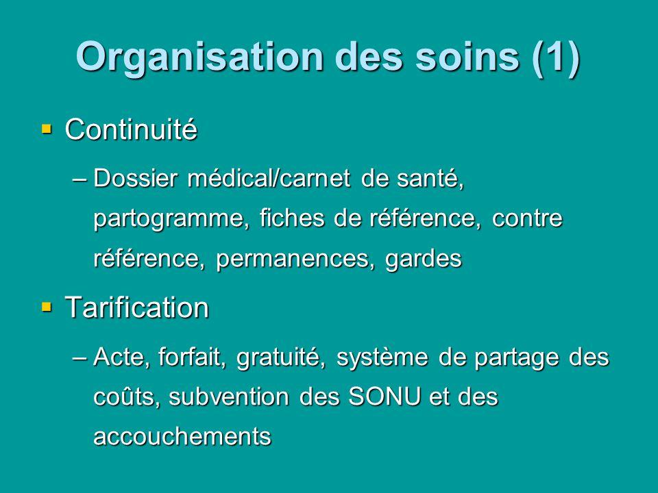 Organisation des soins (1) Continuité Continuité –Dossier médical/carnet de santé, partogramme, fiches de référence, contre référence, permanences, ga