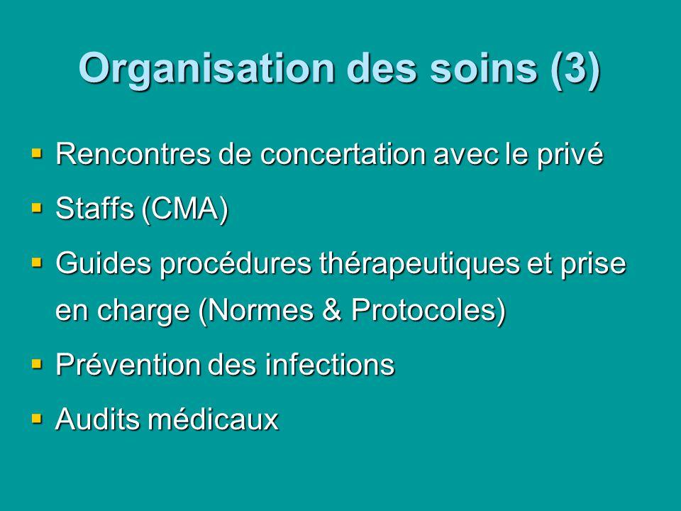 Organisation des soins (3) Rencontres de concertation avec le privé Rencontres de concertation avec le privé Staffs (CMA) Staffs (CMA) Guides procédur