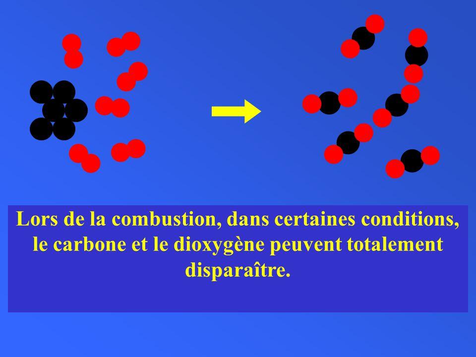 Lors de la combustion, dans certaines conditions, le carbone et le dioxygène peuvent totalement disparaître.