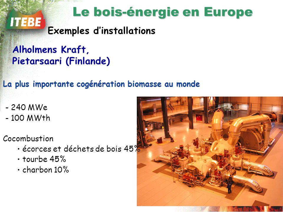 Exemples dinstallations - 240 MWe - 100 MWth Cocombustion écorces et déchets de bois 45% tourbe 45% charbon 10% Alholmens Kraft, Pietarsaari (Finlande) La plus importante cogénération biomasse au monde Le bois-énergie en Europe