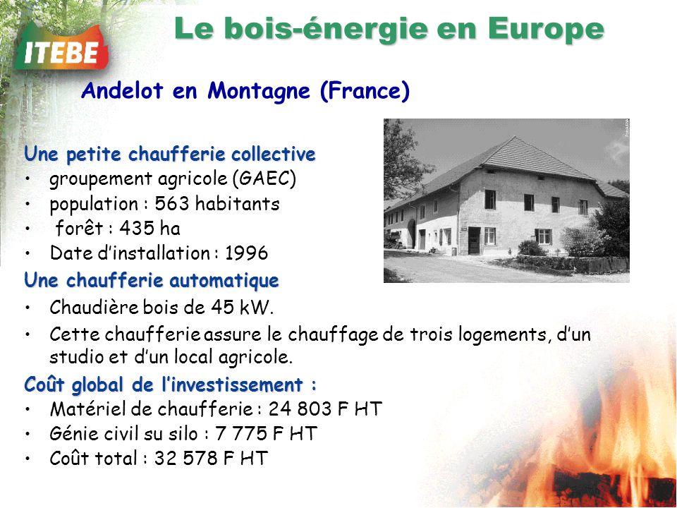 Une petite chaufferie collective groupement agricole (GAEC) population : 563 habitants forêt : 435 ha Date dinstallation : 1996 Une chaufferie automatique Chaudière bois de 45 kW.