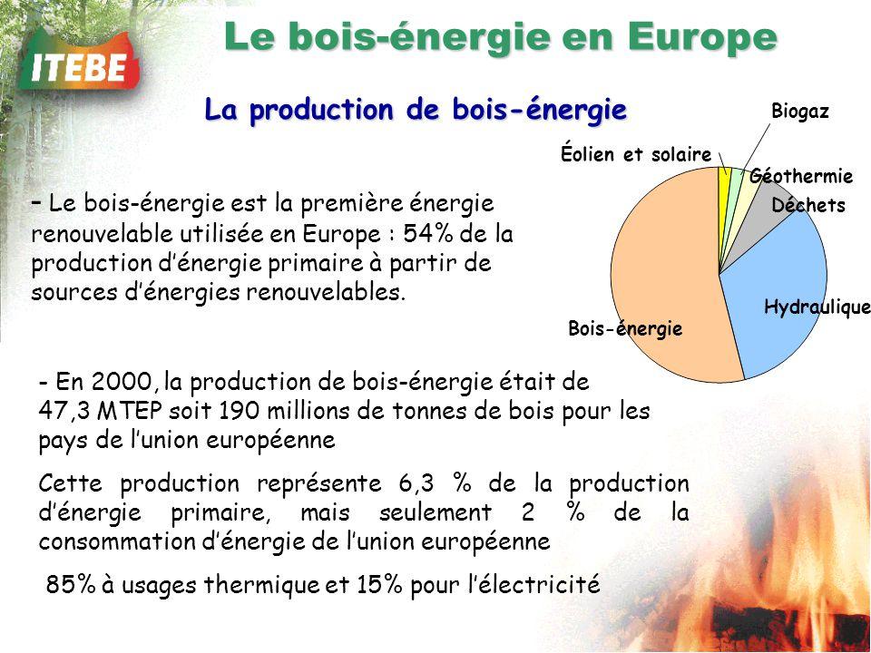 - En 2000, la production de bois-énergie était de 47,3 MTEP soit 190 millions de tonnes de bois pour les pays de lunion européenne Cette production représente 6,3 % de la production dénergie primaire, mais seulement 2 % de la consommation dénergie de lunion européenne 85% à usages thermique et 15% pour lélectricité Le bois-énergie en Europe La production de bois-énergie - Le bois-énergie est la première énergie renouvelable utilisée en Europe : 54% de la production dénergie primaire à partir de sources dénergies renouvelables.
