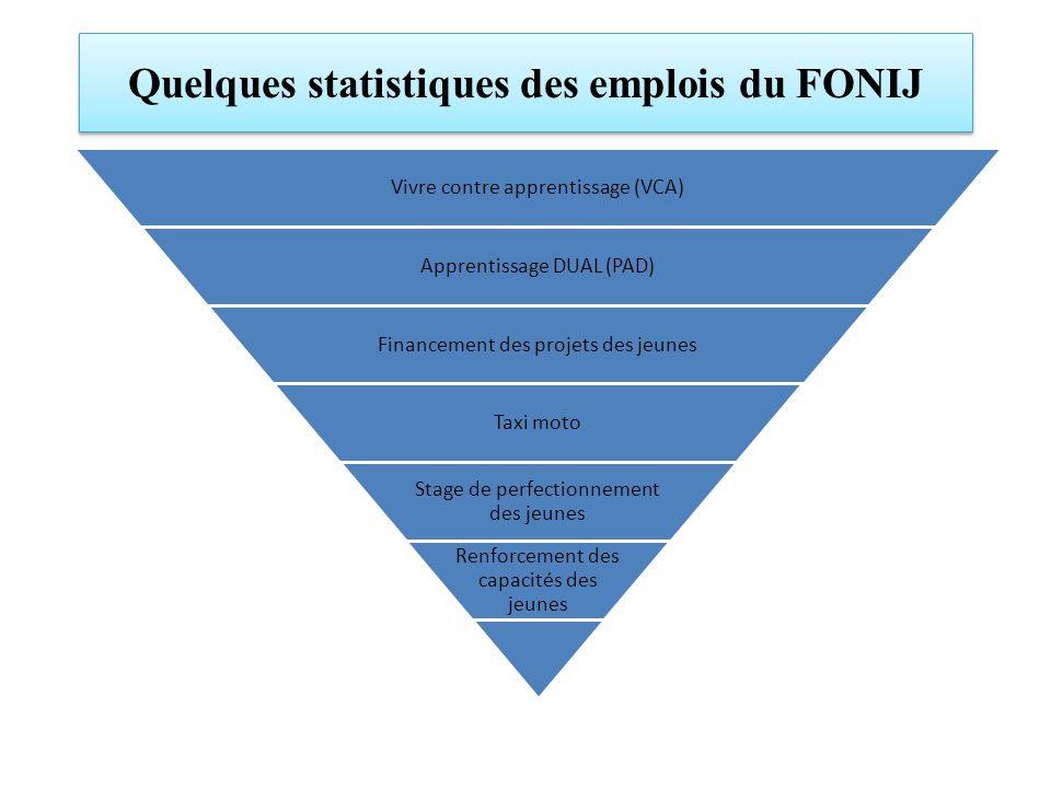 Quelques statistiques des emplois du FONIJ Vivre contre apprentissage (VCA) Apprentissage DUAL (PAD) Financement des projets des jeunes Taxi moto Stage de perfectionnement des jeunes Renforcement des capacités des jeunes