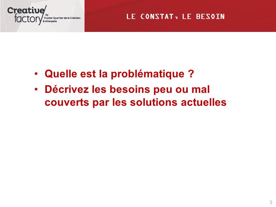 3 LE CONSTAT, LE BESOIN Quelle est la problématique ? Décrivez les besoins peu ou mal couverts par les solutions actuelles