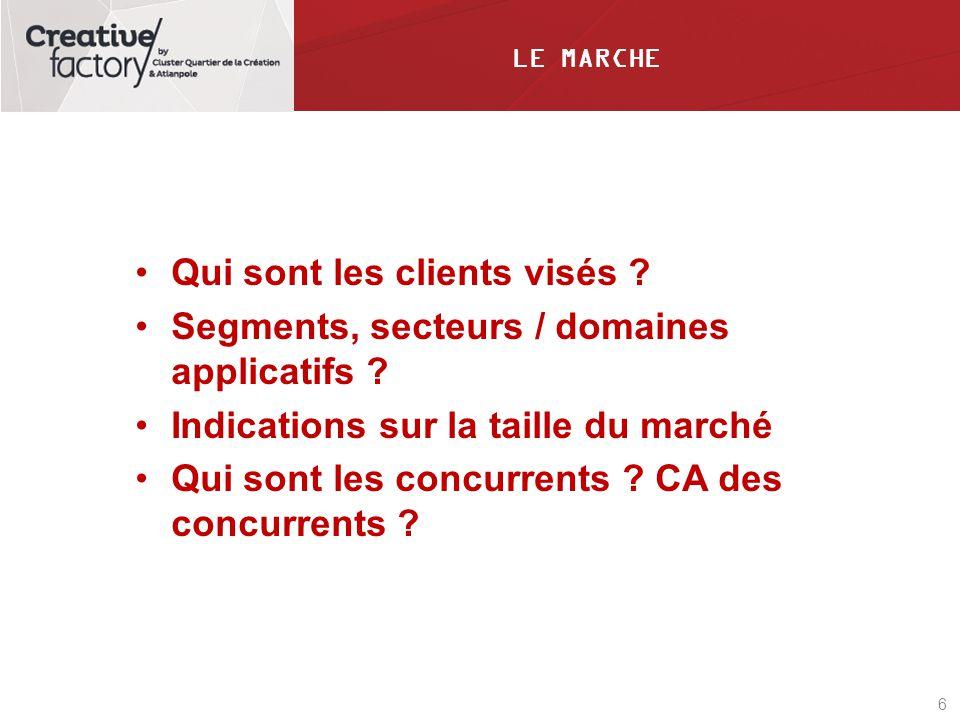 6 LE MARCHE Qui sont les clients visés ? Segments, secteurs / domaines applicatifs ? Indications sur la taille du marché Qui sont les concurrents ? CA