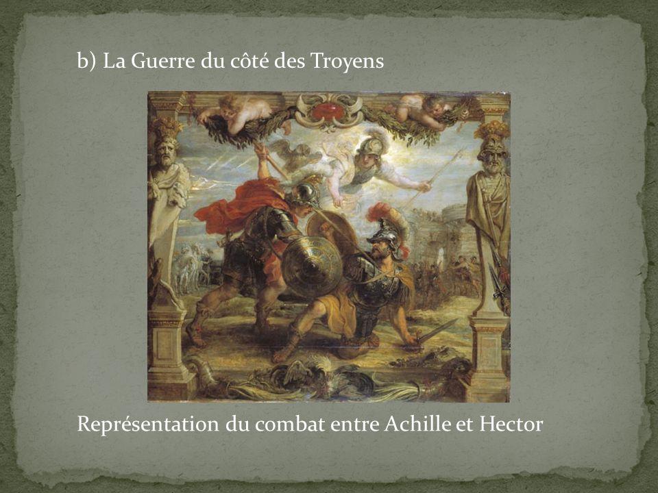 b) La Guerre du côté des Troyens Représentation du combat entre Achille et Hector