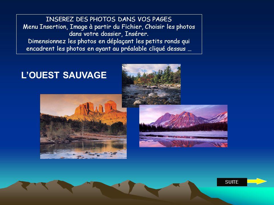 Entrer du texte dans les cadres affichés (cliquez ici pour ajouter...) USA 2009, OUEST SAUVAGE … Insérer de nouvelles zones de textes avec Menu Insert