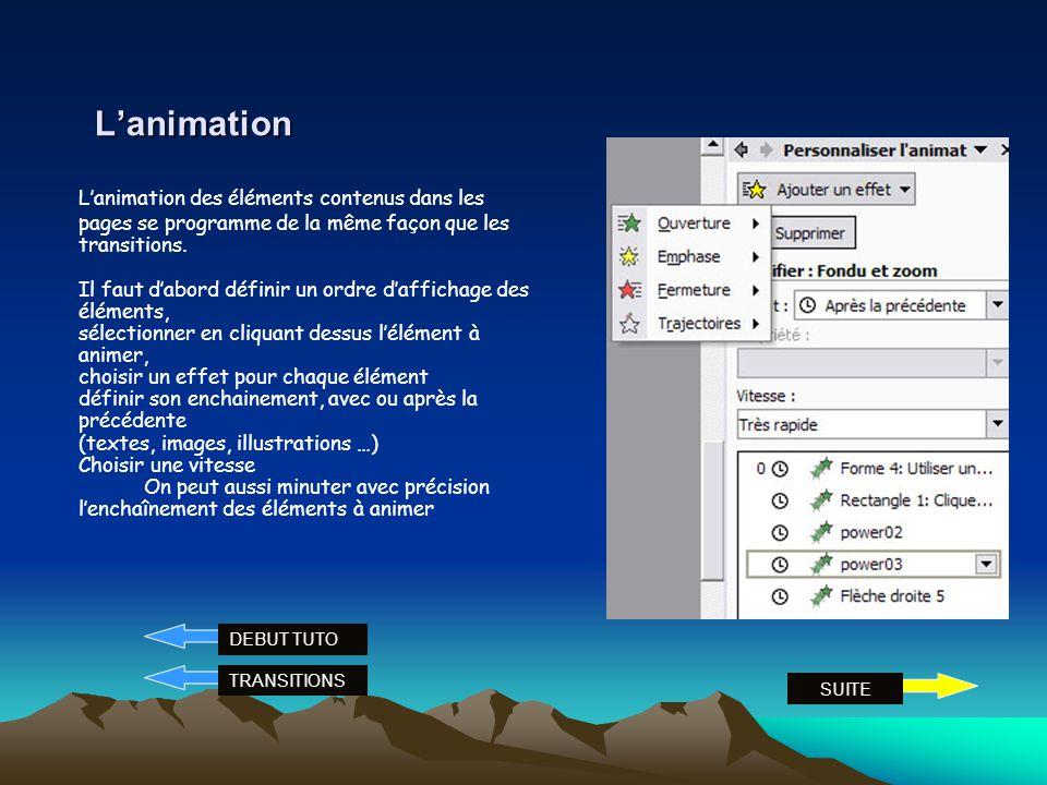 Les transitions Les transitions sont des effets danimation entre deux pages. Elles peuvent être automatiques ou pilotées par un clic. Pour choisir une