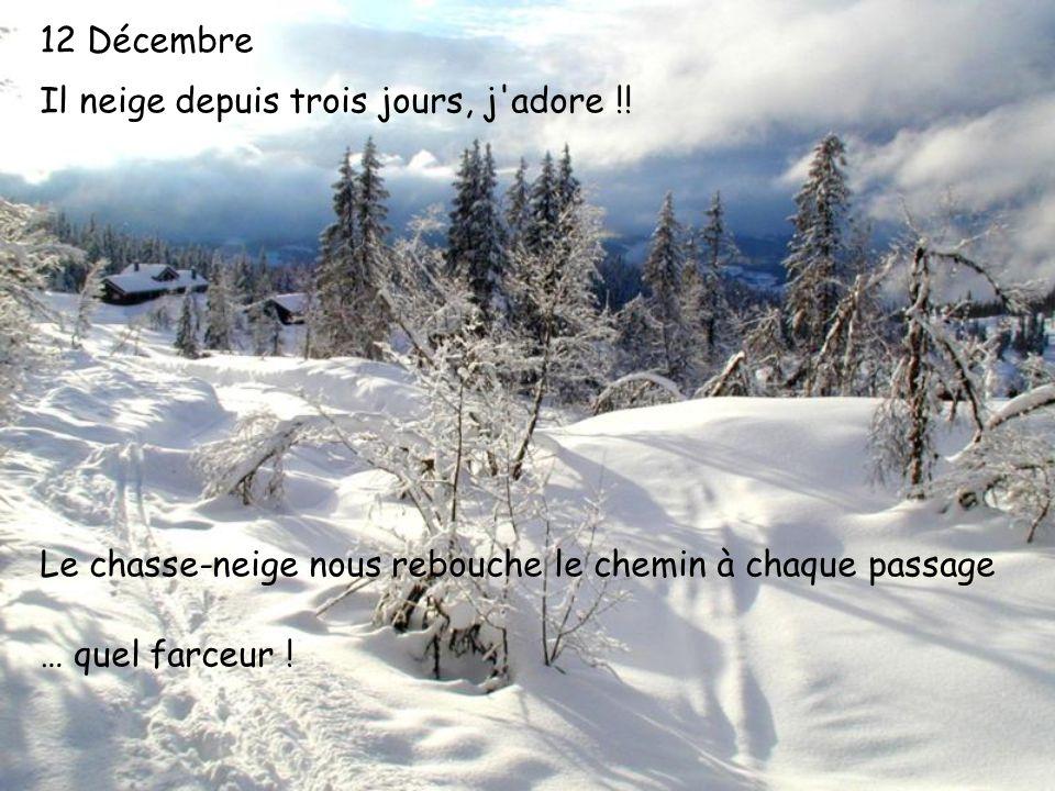 12 Décembre Il neige depuis trois jours, j'adore !! Le chasse-neige nous rebouche le chemin à chaque passage … quel farceur !