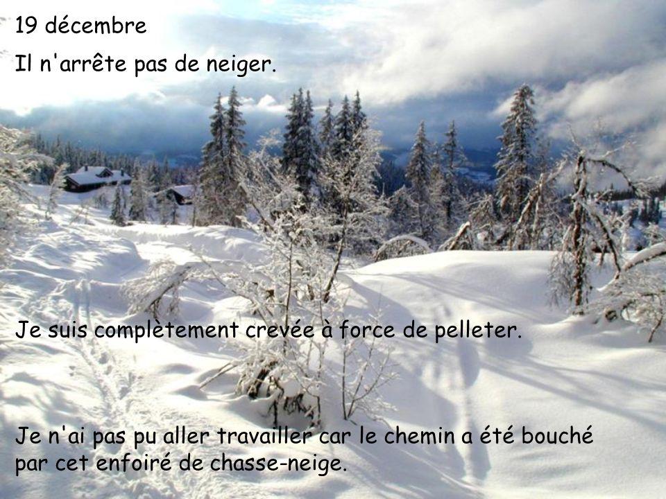 19 décembre Il n'arrête pas de neiger. Je suis complètement crevée à force de pelleter. Je n'ai pas pu aller travailler car le chemin a été bouché par