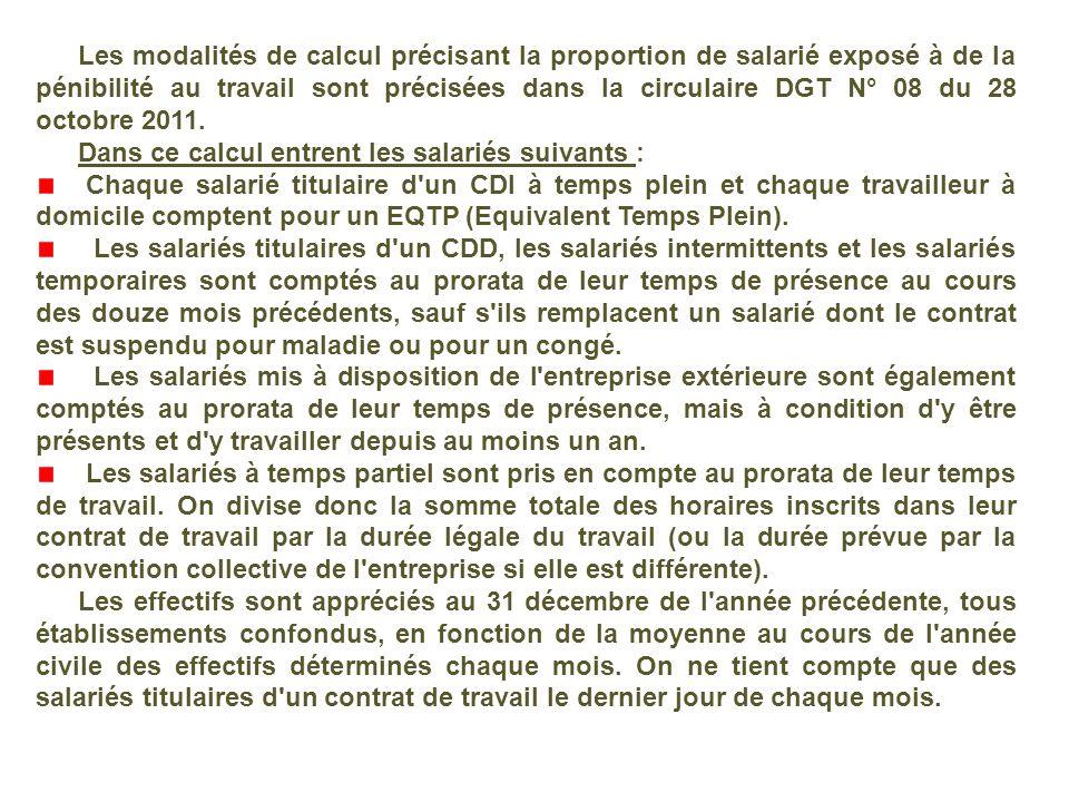 Les modalités de calcul précisant la proportion de salarié exposé à de la pénibilité au travail sont précisées dans la circulaire DGT N° 08 du 28 octo