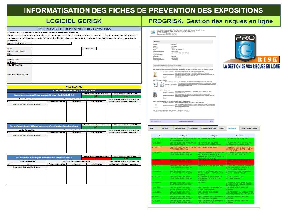 INFORMATISATION DES FICHES DE PREVENTION DES EXPOSITIONS LOGICIEL GERISKPROGRISK, Gestion des risques en ligne