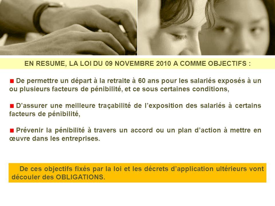 EN RESUME, LA LOI DU 09 NOVEMBRE 2010 A COMME OBJECTIFS : De permettre un départ à la retraite à 60 ans pour les salariés exposés à un ou plusieurs fa